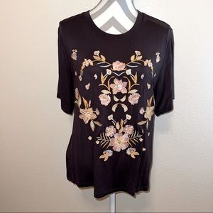 Soul Sanctuary Brown Floral Embroidered Top Small